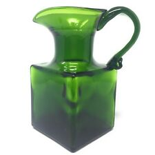 Clevenger Brothers Square Green Emerald Pitcher Glass Water Massachusetts Vtg