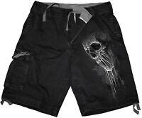 Spiral Direct BAT CURSE Vintage Cargo Shorts Black/Skull/Bats/Vampire/Darkwear