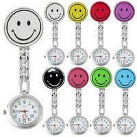 AM_ JU_ Women's Cute Smile Face Quartz Clip-on-Brooch Nurse Pocket Watch Gift Ch