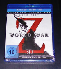 WORLD WAR Z 3D MIT BRAD PITT BLU RAY 3D + BLU RAY + DVD NEU & OVP