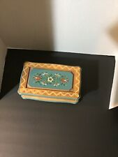 Vintage Anri Wooden Hand Painted Music / Trinket / Jewelry Box Floral Design