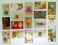 LOT OF 17 HAPPY THANKSGIVING GREETINGS ANTIQUE  POSTCARDS