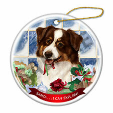 Australian Shepherd Red Tri Howliday Porcelain China Dog Christmas Ornament H2
