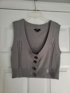 XOXO Gray Cropped Sweater Vest Metal Buttons 90's Y2K Sleeveless Junior Medium