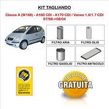 KIT TAGLIANDO4 FILTRI MERCEDES Classe A W168 A160 CDI A170 CDI 07/98->08/04