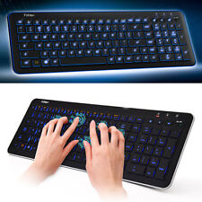 Blue LED Backlit Wireless Intelligent Bluetooth Keyboard for Laptop Computer Mac