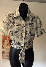 """BNIB vintage 1970's cotton cheesecloth cropped&tie front shirt pointy collar-32"""""""