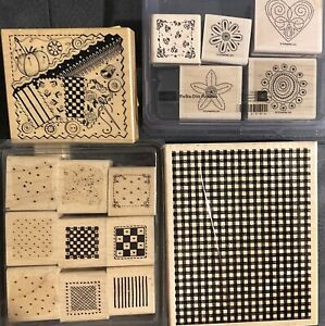 Lot Of 16 Mixed Themed Rubber Stamps Stampin Up Checker Print Backgrounds Crafts
