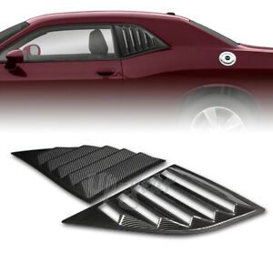 For 2008-2019 Dodge Challenger Carbon Style Side Window Louvers Scoop Cover Vent