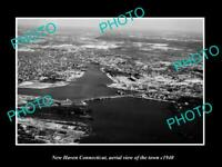 OLD POSTCARD SIZE PHOTO NEW HAVEN CONNECTICUT, AERIAL VIEW OF THE TOWN c1940