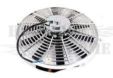 "14"" Chrome Universal Radiator Cooling Fan Straight Blades 12V 1750 CFM"