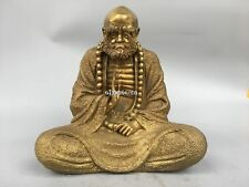 13'' Brass carved Indian buddhism buddha Dhyana Zen monk Bodhidharma statue