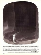 """1980 Charles Addams Large Shoe art """"Get Banker's Attention"""" American Bank Ad"""