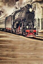 Old Steam Train 5x7ft Photo Shoot Backdrops Studio Vinyl Photography Backgrounds