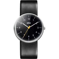 Braun Mens Unisex Stainless Steel Quartz Watch Black Leather Strap BN0021BKBKG