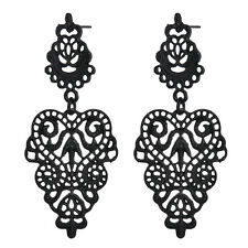 Black Bohemian Ethnic Pattern Exquisite Dangle Ear Stud Vintage Earring 1 Pair