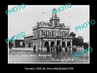 OLD LARGE HISTORICAL PHOTO OF NARRABRI NSW, THE TOWN HALL FLOODED c1920