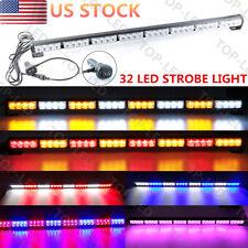 "32LED 35""36"" 32W Emergency Warning Traffic Advisor Flash Strobe Light Bar 12V US"