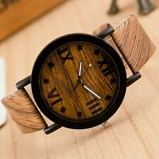 Luxury Men Women Retro Leather Analog Round Casual Wooden Movement Dress Vintage