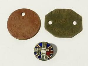 Soldier Dog Tags 6691101 M Bagwell & Resurgam 1940 Submarine Enamel Badge #V1