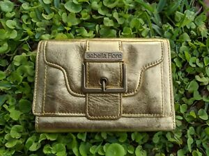 Isabella Fiore Leather Metallic Gold Buckle Trifold Clutch Wallet