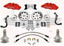 "1967-1969 Camaro Wilwood Disc Brake Kit 2"" Drop Drilled Red 6 Piston Calipers"