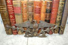 Antique French Bronze Large Eagle Leaf Garland Pediment Decorative Mount