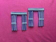 "2 blue lgingham  dolls house curtains 3.5"" x 4"""