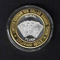 1990's COLORADO BELLE Casino $10 ROYAL FLUSH Gaming Token - Laughlin NV