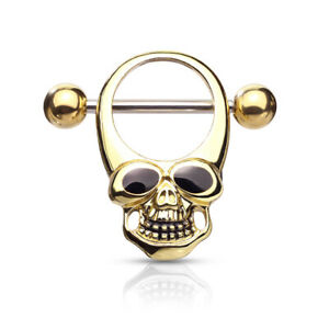 "1 PAIR 14g 5/8"" Skull Nipple Shield Ring With Black Enamel Eyes #A"