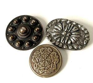 Vintage Silver Tone Tribal Circle & Oval Mixed Era Joblot of 3 Brooches