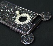 For iPhone 7+ PLUS Black Sparkling Rhinestones Pearl Diamond TPU Mouse Ears Case