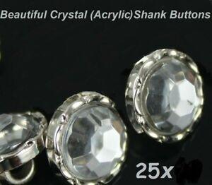 25x Crystal Clear Acrylic Rhinestone Sewing Shank Buttons Craft Scrapbooking DIY