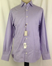 Peter Millar Mens Shirt 15.5 Long 34 35 Nanoluxe Purple White Plaid Cotton NWT