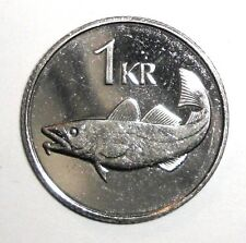Iceland 1 kronur, Cod fish, Giant, animal wildlife coin