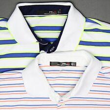 Lot of 2 Mens RLX Golf Shirts L White Blue Stripe Collar Knit Polyester Blend