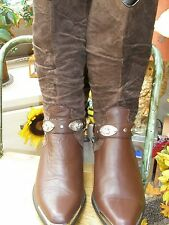 Oak Tree Farm Cowgirl Boots Brown Leather Calf Length Ankle Chain UK7.5 EUR 40.5