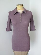 VGC Michael Stars Sparkly Purple Thermal Polo Shirt Knit Top 1/2 Sleeve One Size
