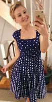 Anne Klein Blue White Polkadot Godet Fit & Flare Dress. Fits US 4/6 Or UK 8/10