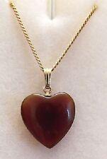 collier chaine pendentif bijou couleur or coeur résine de qualité marron * 4182