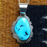 Navajo LL Larson Lee Turquoise Nugget Sterling Silver Pendant Necklace Handmade