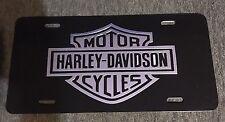Harley-Davidson Black Coated License Plate with Black & Chrome Bar & Shield