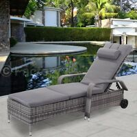 Rattan Wicker Chaise Lounge Chair Adjustable Outdoor Patio Furniture+Cushion USA