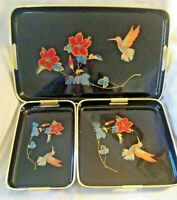 (3pc)Japanese Serving Tray Set - Gloss Black Lacquer - Hummingbird & Hibiscus