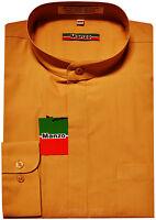 New Men's Shirt Dress Formal Banded Nehru Collar Long Sleeve Wedding Mustard