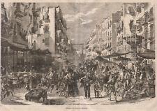 1866 Strada di Porto a Napoli xilografia da Emporio pittoresco