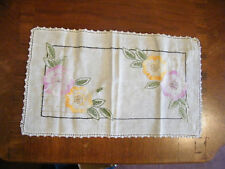 Embroidered Dresser Scarf Doily Crochet Trim 16.5 x 10