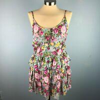 Ruby Rox Womens Medium Sundress Floral Blue Yellow Pink Ruffle Buttons