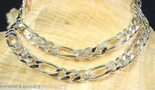 "6MM ITALIAN SOLID STERLING SILVER PAVE CUT FIGARO CHAIN NECKLACE 20"" 22.9gr"