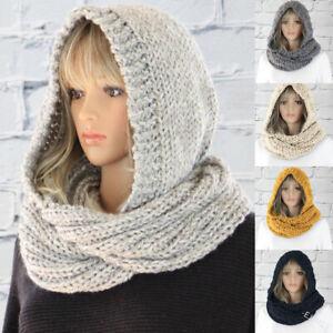 Grey Women's Winter Knit Hood Scarf Hat Neck Warmer Hooded Scarves Grey UK